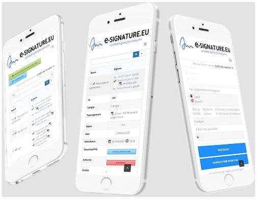 e-signature digital qualified dashboard iphone smartphone responsive